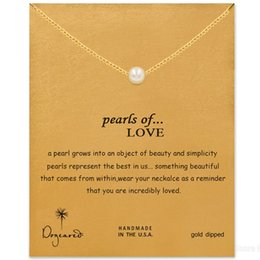 Wholesale Hot Sale Dogeared Necklace with pearls pendant pearls of love WITH CARD silver and gold color noble and delicate necklace no fade