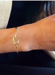Wholesale 2017 New Fashion Women Lover Knot Open Copper Bracelet Girl