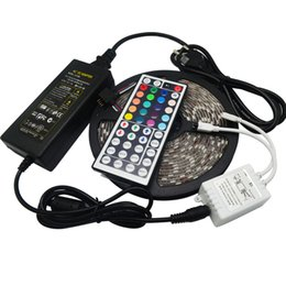 Wholesale 5050 RGB LEDS LED Strip Light Waterproof RGB LED M roll DC V Flexible led with remote controller A adapter coil m roll