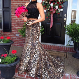 New 2017 Sexy Leopard Print Two Pieces Prom Dresses High Neck Beading Sweep Train Mermaid Evening Dress Party Gowns