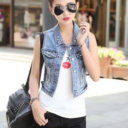 Femmes top perle à vendre-Factory Wholesale New Hot Fashion Single Buttons sans manches en denim Vest Femme Jean Fake Perles Décoré Street Outwear Femme Tops
