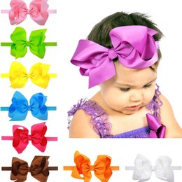 16 colors Baby Girls Stretch Bow Headbands Infant big bow hair band cute Hair Accessories 6 inches C1743