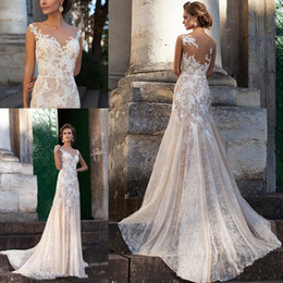Light Champagne Sheer Lace Beach Wedding Dresses 2019 Mermaid Sheer Neck Appliqued Country Middle East Bridal Gowns