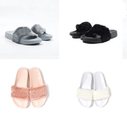 Wholesale Send With Original Boxes Leadcat Fenty Rihanna Shoes Indoor Women Slippers Indoor Sandals Girls Fashion Shoes Girl Scuffs Pink Black White