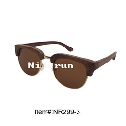 brown polarized lens metal full frame bamboo half frame sunglasses
