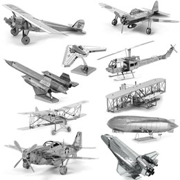 Wholesale D Metal Puzzles for children Adults Model Toys Jigsaw Metal Bpeomg AH64 Apache B17 flying fortress F22 Raptor puzzles Chinook