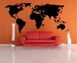 Wholesale 1 x90cm Best Selling Big Global World Map Vinyl Wall Sticker Home decor wallpaper Creative Wall Decals CCR1103