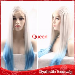 Charming Glueless Brazilian Lace Front Wigs Silky Straight Ombre Gray Blue Hair Wigs with Baby Hair Cheap Synthetic Wigs for black women