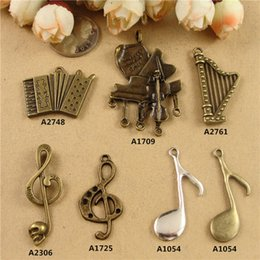 Wholesale Alloy new piano Accordion harp music charms DIY jewelry accessories ancient bronze handmade beaded small retro musical instruments pendants