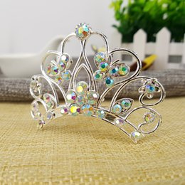 Wholesale Colorful Crystal Comb - 2016 Kids Birthday Gift Colorful Rhinestone Crown Hair Comb Children Crystal Shining Sweet Princess Hair Accessories