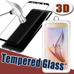 3D Curve Tempered Glass Screen Protector Full Cover Coverage Curved Glass For iPhone 7 plus Samsung S8 Plus S7 Edge S6 With Retail Package