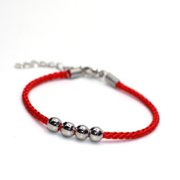 2017 gros national Vente en gros - Quatre perles Bracelets de charme de mode National Red String Lovers Lucky Bracelet accessoires femme gros national autorisation