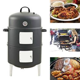 Nouveau 17 pouces Easy Assembly BBQ grill Sécurité Barbecue Fumes Fours Acier Fumeur Barbecue Grilll avec Build-in Thermometer Round Shape Grill à partir de sécurité facile fabricateur