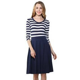 Fashionable women's clothing, Europe and America sell well, popular knitting blend, round neck seven, sleeve stripe big swinging dress