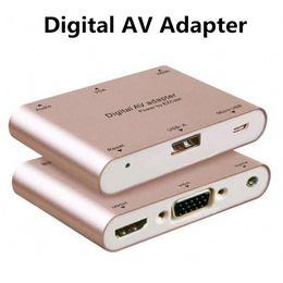 Wholesale Byloly Aluminum Alloy Multifunction Conversion Phone PC to HDMI HDTV TV VGA Video Audio Digital AV Adapter for iphone Samsung