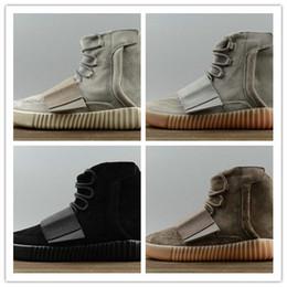 Mejores botas al por mayor de las mujeres en Línea-Aumento al por mayor caliente de Kanye al por mayor 750 hombres negros de los zapatos corrientes de las mujeres de los hombres que envían libremente tamaño los EEUU 5 11 calzan la mejor calidad de la zapatilla de deporte