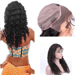 8A Grade 130% Density Lace Front Human Hair Wigs For Black Women Deep Wave Brazilian Remy Hair Natural Black With Elastic Straps