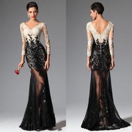 Black White Mermaid Long Sleeves Lace Evening Dresses 2016 Elie Saab V Neck Sheer Illusion Sequined Celebrity Prom Dresses Evening Wear