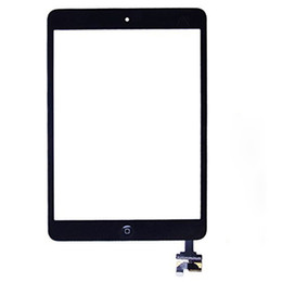 Wholesale 100 New Touch Screen Glass Panel with Digitizer with ic Connector Buttons for iPad Mini Black and White