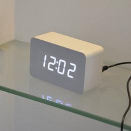 Wholesale new designer Thermometer LED Digital clock Sounds control Alarm clocks desktop table clock for drop shipping