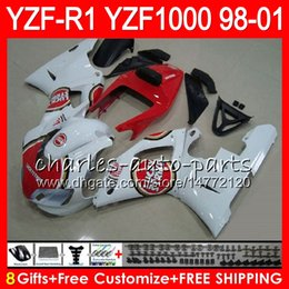 8Gift 23Color Body For YAMAHA YZF1000 YZFR1 98 99 00 01 YZF-R1000 61HM19 white red YZF 1000 R 1 YZF-R1 YZF R1 1998 1999 2000 2001 Fairing