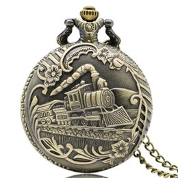 Wholesale Vine Bronze Train Front Locomotive Engine Necklace Quartz pedent gift Pocket Watch Chain P07