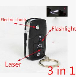 Wholesale Stun gun flash Light Car Key Mini pocket Stun gun Super power gun Electric shock laser flashlight Colour Black
