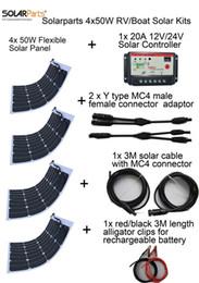 Solarparts 4x50W DIY RV / лодки наборы Солнечная система гибкой панели солнечных батарей 1x 20A солнечный регулятор 1 комплект 3M MC4 кабель 1 комплект зажим от Поставщики р.в. комплекты солнечных панелей