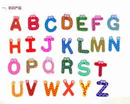 Wholesale Words Fridge magnets Set Children Kids Wooden Cartoon Alphabet Education Learning Toys Adult Crafts Home Decorations Gifts