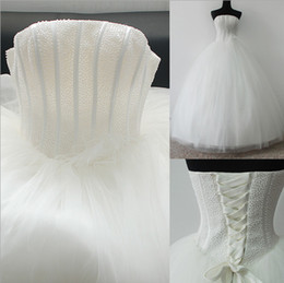 New Real Wedding Dresses with Beading Elegant White Ivory Ball Gown Bridal Dress Strapless Vestidos De Novia Wedding Gown