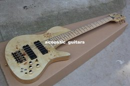 Wholesale China guitar factory custom100 New Natural Wood Burl pattern Fodera Butterfly Strings Electric Bass Guitar