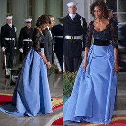 Wholesale 2016 Michelle Obama Sexy Formal Evening Dresses Black Lace Sequined Women Gowns With Half Sleeves Red Carpet Celebrity Dress