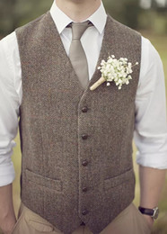 2019 Farm Wedding Brown Herringbone Wool Tweed Vests Custom Made Groom's Suit Vest Slim Wedding Vest For Men Plus Size Tuxedo Waistcoat Men