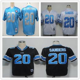 Wholesale Throwback Detriot Barry Sanders White Black Light Blue Retro Home Away Stitched Vintage Football Jerseys