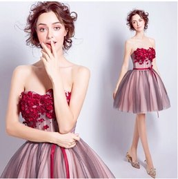2017 New Cheap Real Image Strapless A-Line Sweetheart Lace Sexy Formal Evening Dresses Appliqued Short Ball Gown Modern Prom Dresses