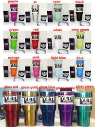 Wholesale 30oz Yeti Coolers cups oz powder Coated stainless steel YETI Rambler Tumbler Travel Vehicle Beer Mug Bilayer oz cup