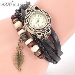 Wholesale New arrivals leather rope wrist band Quartz Clock vine silver style weave leather rope Charm bracelet wrist watch