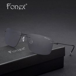 Compra Online Gafas de diseño fresco-FONEX 2017 Diseñador de marca Cool Cool Gafas de sol sin lunar cuadrados para hombres Gafas de sol polarizadas espejo de titanio Oculos de sol