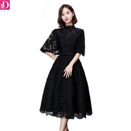 In Stock Special Occasion Dresses Evening Dresses Flared Sleeve A-line Lace Medium Length Robe De Sporee Evening Banquet Party Dress 8791