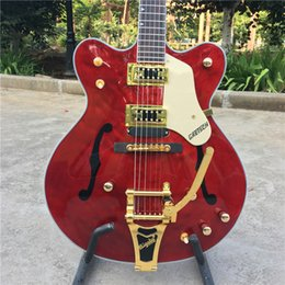 guitarras de llama roja Rebajas Custom Limited Run Curly ES35 Semi hueco Transparente Rojo Flame Top Jazz Guitarra Ebony Fingerboard Bigspy Tremolo Bridge