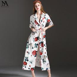 las nuevas mujeres de la llegada dan vuelta abajo al collar mangas largas impresas florales de la correa del marco cuspir los vestidos caseros ocasionales