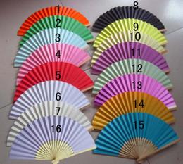 2017 côté de l'artisanat Favors de mariage Cadeau unique ventilateur de pliage de papier de côté, Bride ventilateur de main d'artisanat avec des nervures de bambou Candy Color Drawing Fan + DHL Livraison gratuite bon marché côté de l'artisanat