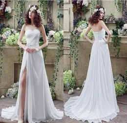 Free Shipping 2017 Chiffon Wedding Dresses A Line Sweetheart Thigh-High Lace-up Back with Crystals Beads Summer Beach Bridal Gowns