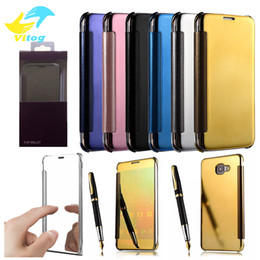 Wholesale Official Case Electroplate Clear Smart Mirror View Flip Cover Sleep wake Case Screen Protector For Note5 S6 S6 edge plus S7 edge S8 plus