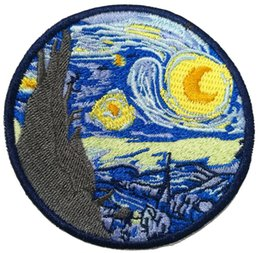 New Arrival The Starry Night Van gogh Famous Art Work Embroidered Patch for Clothes Clothing Patches Free Shipping