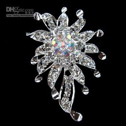 Free Shipping ! Silver Plated Rhinestone Crystal Flower Pin Brooch for wedding