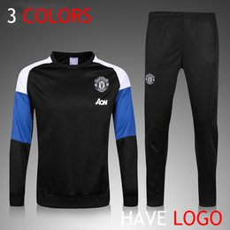 Wholesale 2016 Manchester New Men Adults Track suits Winter Soccer Manchester Tracksuit Football survetement United chandal Equitment