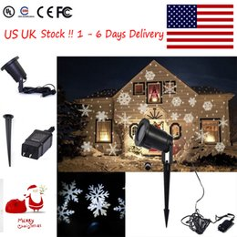 Wholesale UK US STOCK Moving Outdoor and indoor LED Snowflake Laser Light Projector Lamp For Xmas Party