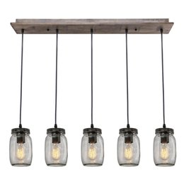 Indoor Glass Pendant Lamp, Interior Decor Light Fixture, Home Lighting DIY, Vintage Style Wooden Light, Island Kitchen Chandelier
