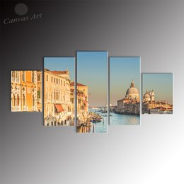 No Framed 5 Pieces Printed Canvas Art Painting Florence City Scenery Giclee Printing Wall Art Pictures Set for Study Decoration